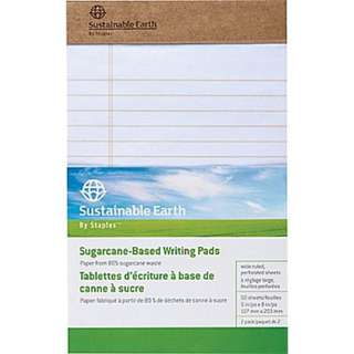 "Sustainable Earth by Staples Sugarcane-Based Writing Pads, 5"" x 8"", Wide-Ruled, White, 50 Sheets, 2/Pack"