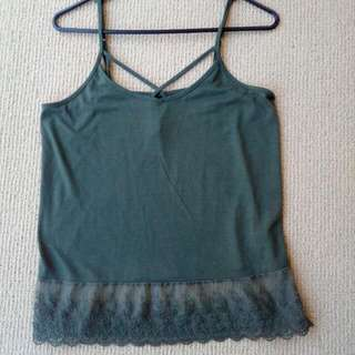 Olive Strappy Singlet With Lace Trim