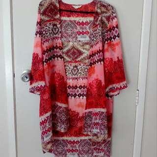 Pink Patterned Kimono