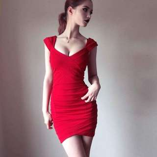 Red Bodycon Dress Bardot