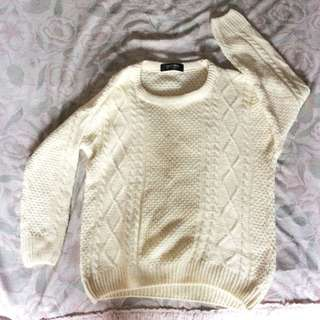 Beige Knitted Sweater Top
