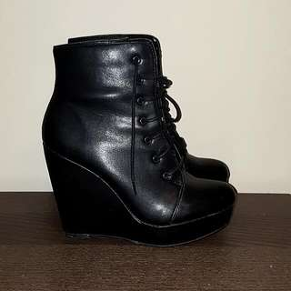 Spring Lace Up Wedge Booties - SIZE 6