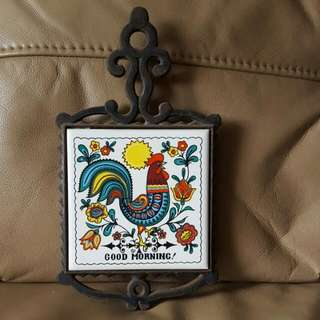Vintage Rooster Tile Wall Ornament