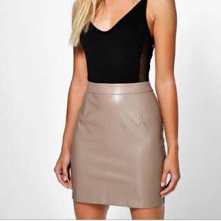 Taupe leather Look Skirt