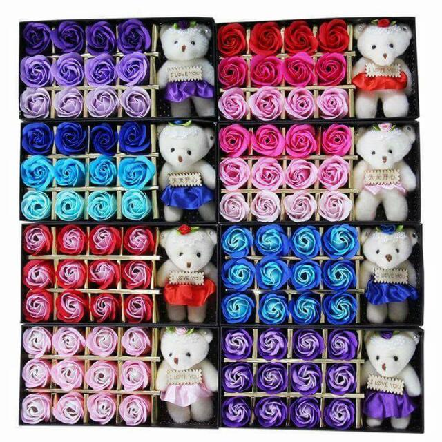 12 Pcs. Of Flower Soap With A Bear