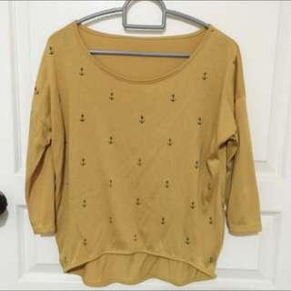 Mustard Yellow Anchor Shirt (Medium)