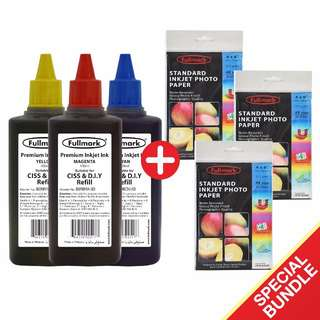 Fullmark Special Bundle, 3 Premium Inkjet Ink, (100ml-Compatible with BROTHER + 3 Standard Inkjet Photo Paper (4R size)