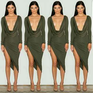 SCK THE LABLE KHAKI DRAPE DRESS