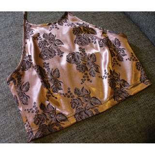 Vintage Silky Copper with Roses Crop top - Size 10