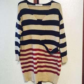 條紋長版連身針織毛衣