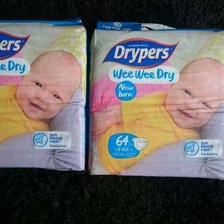 Drypers Wee Wee Dry Newborn 64pcs X 2 packs