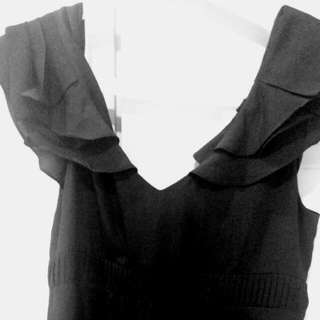 Satin Black Knee Length Dress