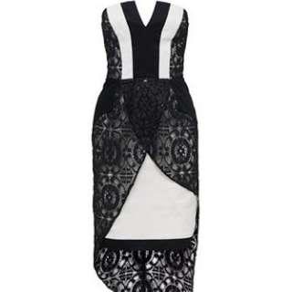White suede Angular Contrast Dress