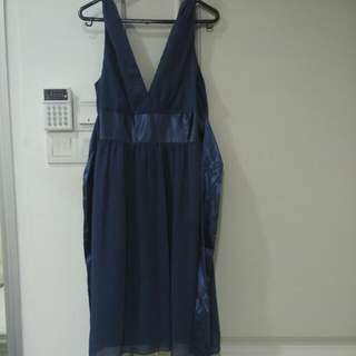 Dinner Satin Blue Dress Knee Length