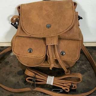 Camel Brown 2 in 1 (mini backpack/sling bag)