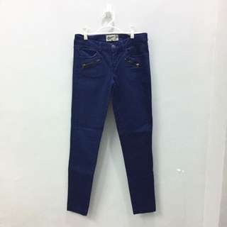 Bershka Smooth Satin Navy Blue Trousers