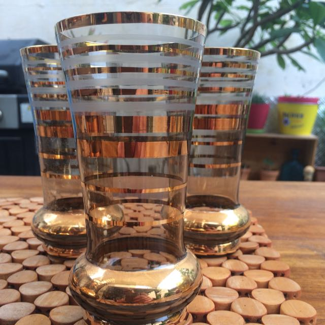 1970's Gold Plated Set Of 6 Glasses And Jug