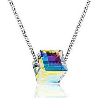 Swarovski Elements Magic Aurora Designer Collection Rainbow Austrian Crystal Rubik's Cubic Cube Facet Charm Necklace