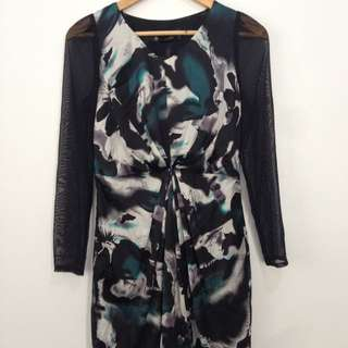 Printed Dress With See Through Sleeves