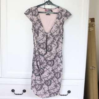 Beige-Black Pretty Pattern Dress