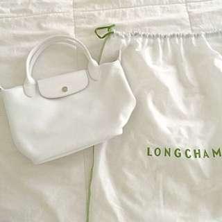 Longchamp Le Pliage Veau Foulonne (White)