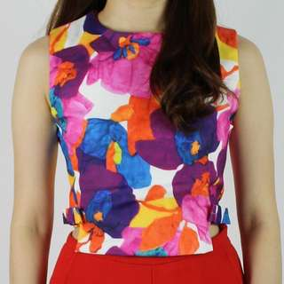 Floral Top with Side Ribbons (Purple)