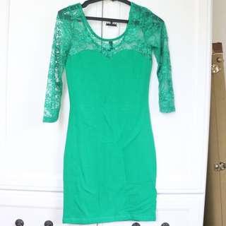 H&M Green Sweet Heart Laced Dress