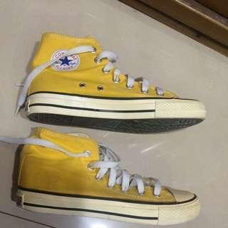 Converse  All star 黃色高筒帆布鞋
