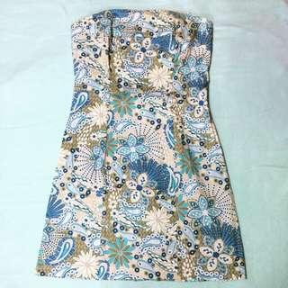 Blue Floral Tube Dress