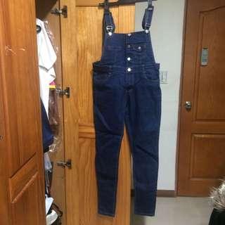 韓版排釦吊帶褲