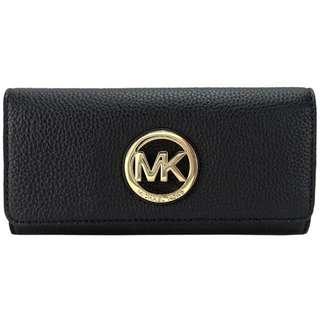 🇺🇸 Michael Kors 經典MK鏤空金字Logo 皮革長夾