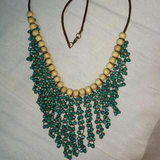 Blue Wood Necklace