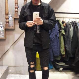B-Side 軍裝黑襯衫