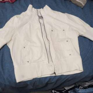 Bood Size 12 Jacket, Over 20 Years Old - Vintage Retro White, Mint Cond. Studs All Intact, Zip N Button