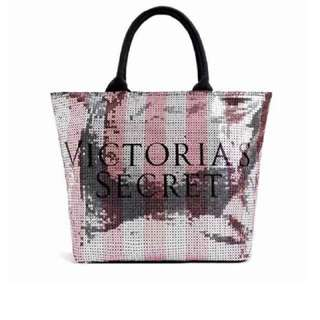 Brand New Authentic Victoria Black Friday Sequin Tote Bag (Pink)