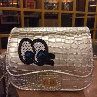 NEW‼️Eyelash Sling Bag - silver (new)