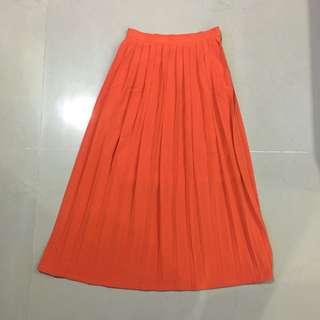 Orange Pleated Skirt Bysi
