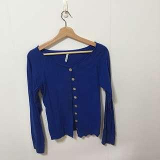 二手-韓國製 圓領藍色小外套