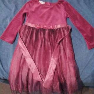 Patch Velvet Crimson Dress Size 4