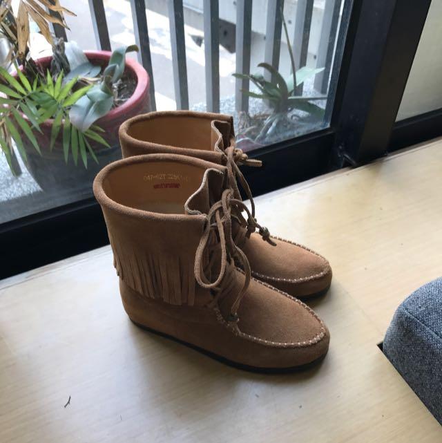 9.9成新 GRACE GIFT 流蘇內增高綁帶靴 22.5cm