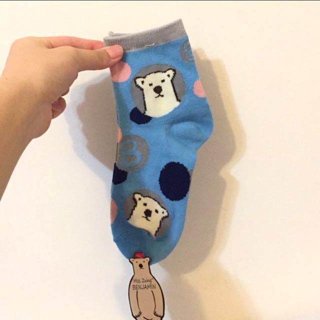 全新超可愛北極熊點點襪子