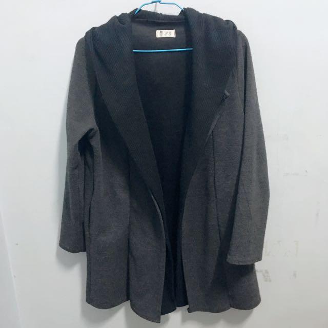 暗黑系開襟長板外套大衣