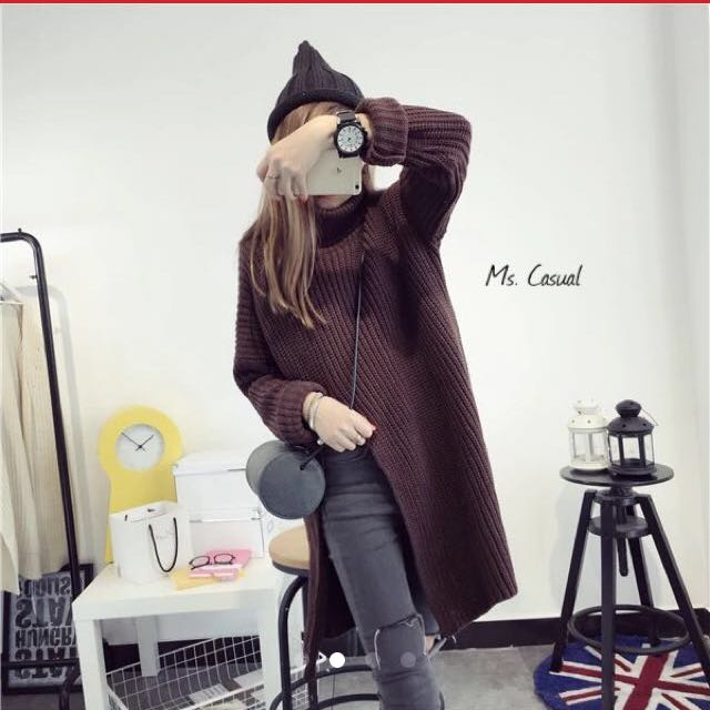 高領開衩毛衣針織上衣