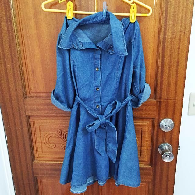 休閒單寧牛仔綁帶洋裝(長袖、反折、五分袖)