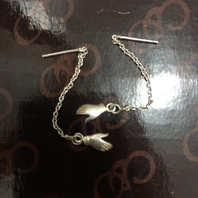 純銀 小手 耳環 耳鍊