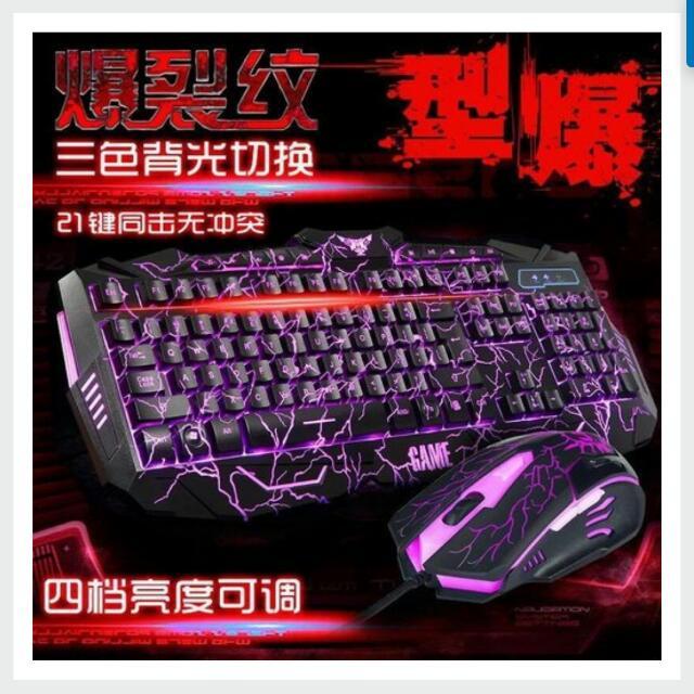 爆裂三色鍵盤+中文貼紙 LOL AVA 鬥陣聯盟