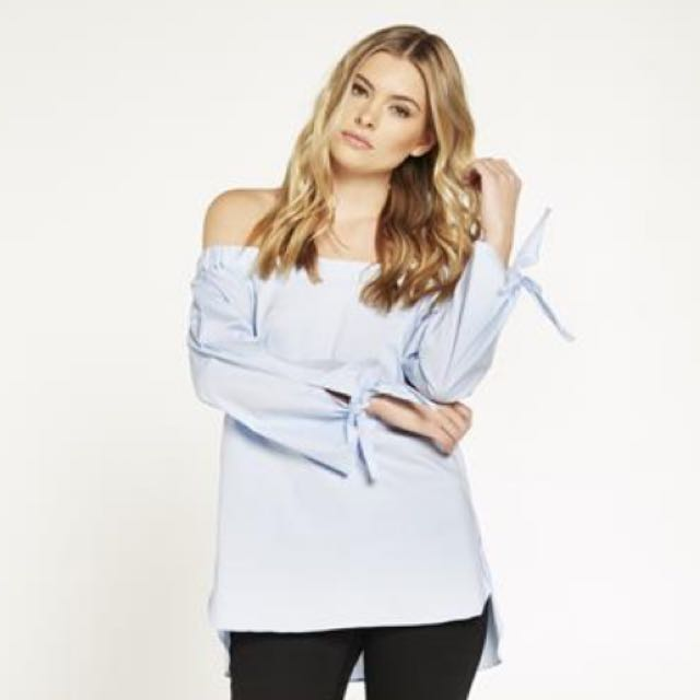 BARDOT blue tie sleeve top