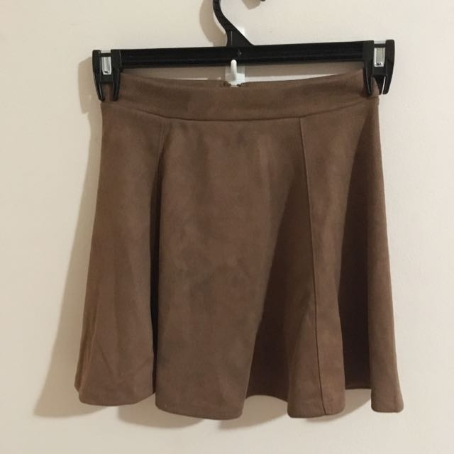 Beautiful Suede Brown Skater Skirt