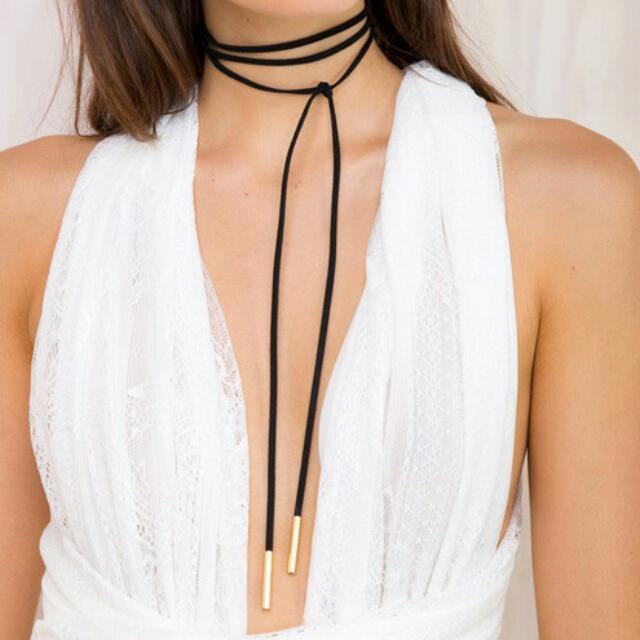 Black Bolo Choker Tie Necklace