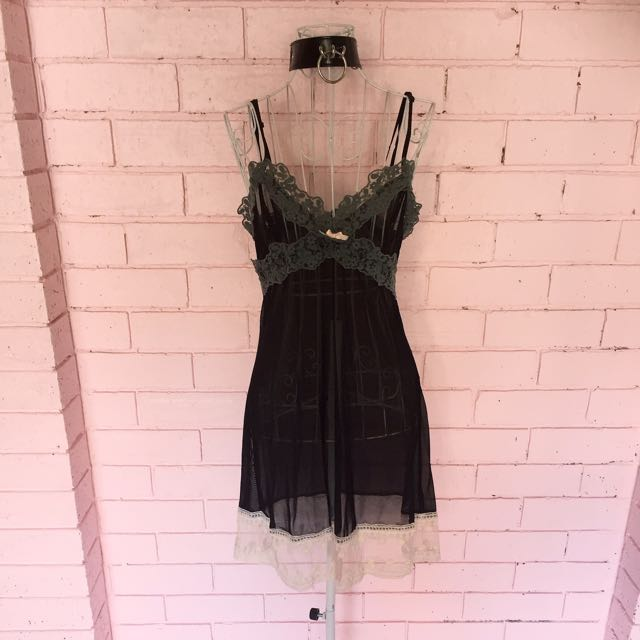 Black Grey And Cream Detailed Neglige Lingerie